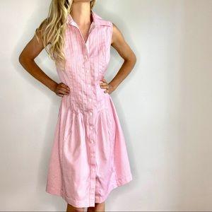 Brooks Brothers Pink & White Pinstriped Dress sz 6